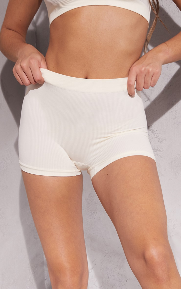 Cream Seamless Rib Boy Shorts 4