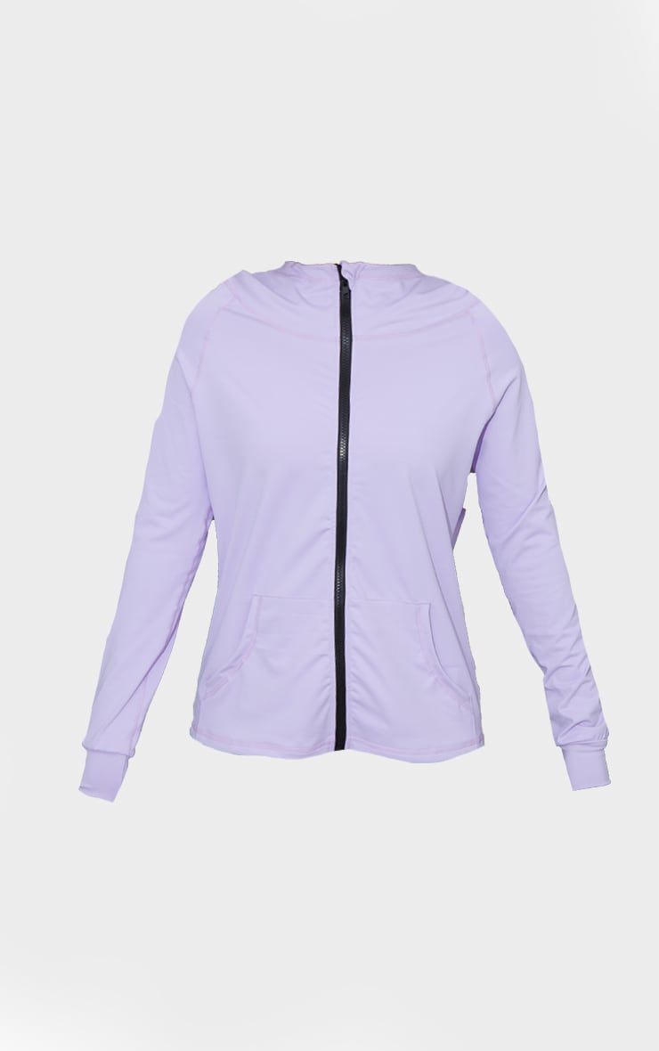Lilac Zip Through Hooded Gym Top 5