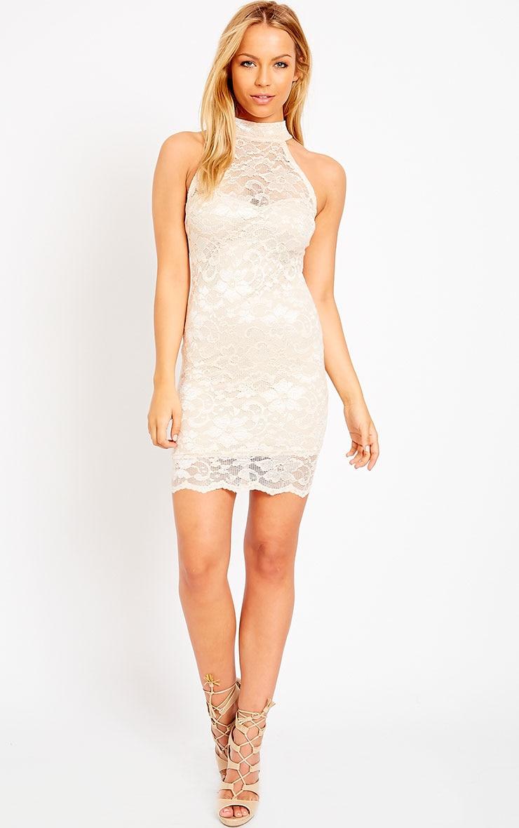 Soffi Peach High Neck Lace Bodycon Dress 3