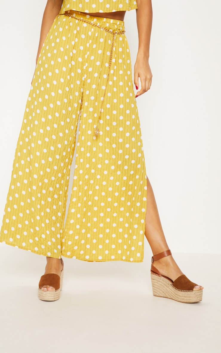 Mustard Cheesecloth Polka Dot Wide Leg Trousers  3