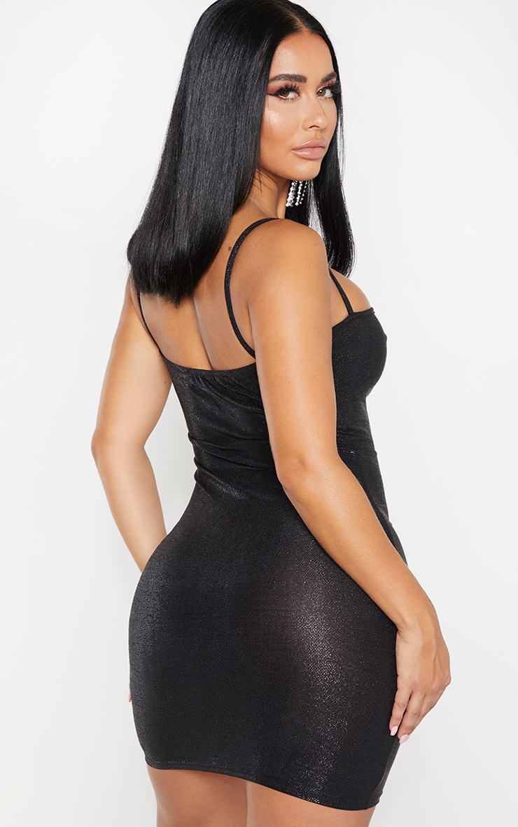 Shape Black Glitter Skinny Strap Ruched Bust Bodycon Dress 2