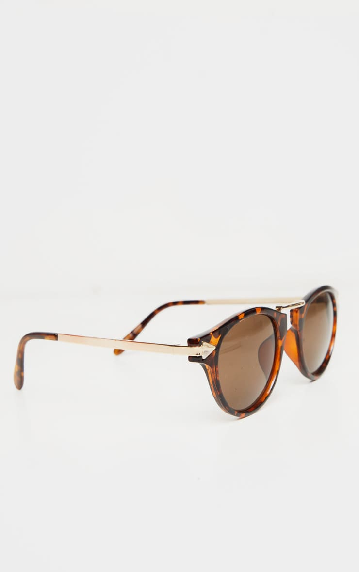 Brown Tortoise Frame Aviator Sunglasses 3
