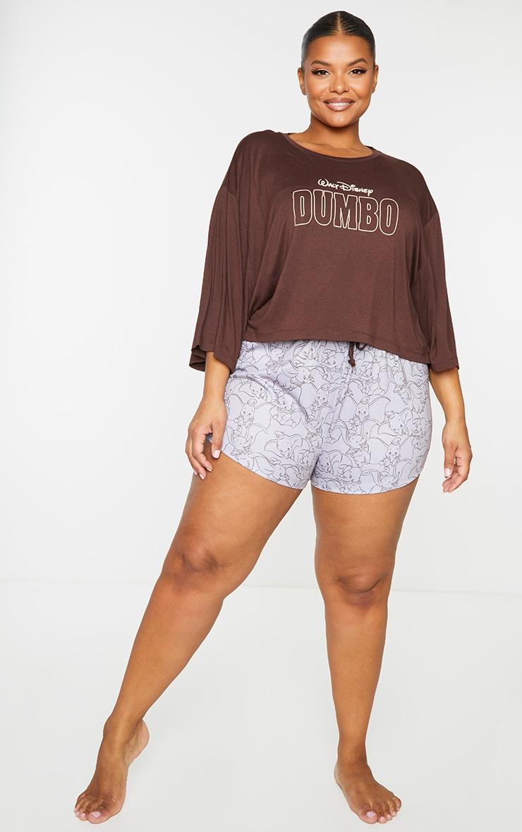 Plus Brown Disney Dumbo T shirt And Shorts PJ Set 3