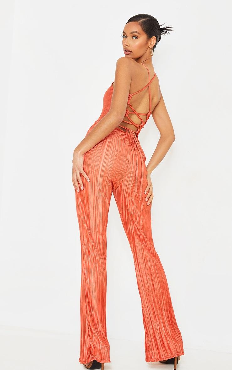 Orange Plisse Lace Up Back Jumpsuit image 1