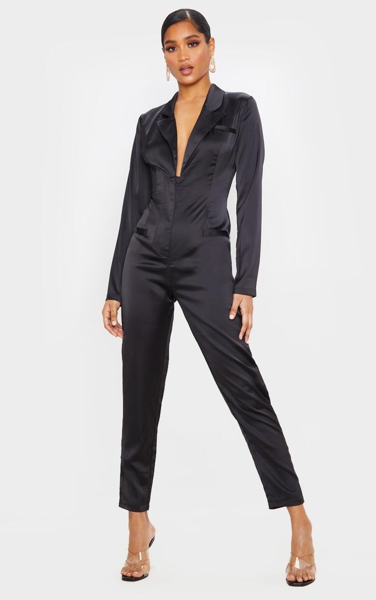 Black Long Sleeve Tailored Satin Jumpsuit 1