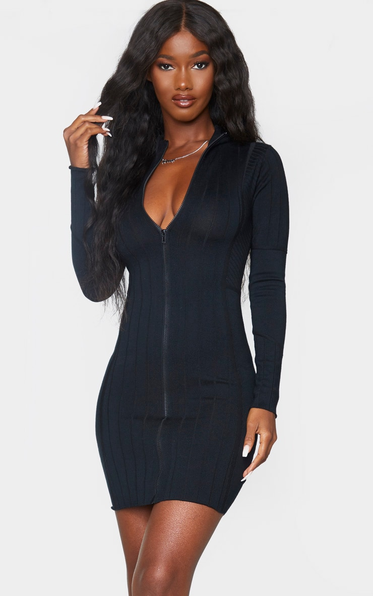 Black Ribbed Zipped Knitted Mini Dress 1