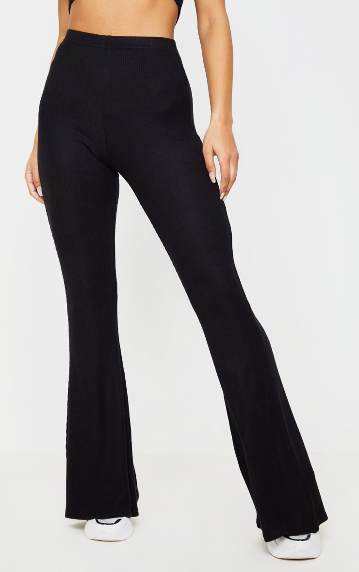 Black Brushed Rib High Waisted Flared Pants 2