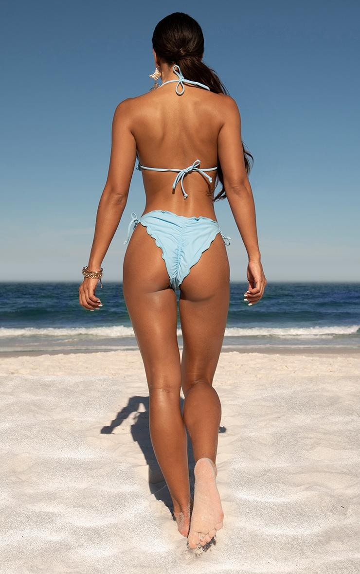 Blue Frill Edge Ruched Back Bikini Bottoms 1