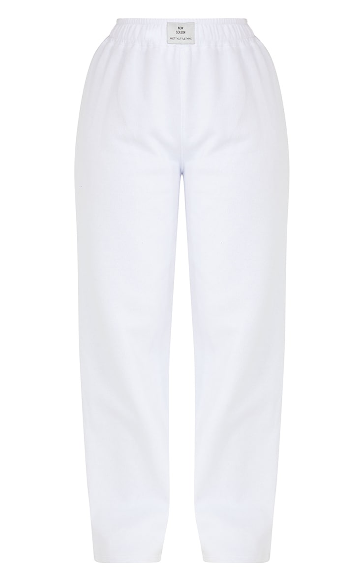 PRETTYLITTLETHING White Straight Leg Badge Detail Joggers 5