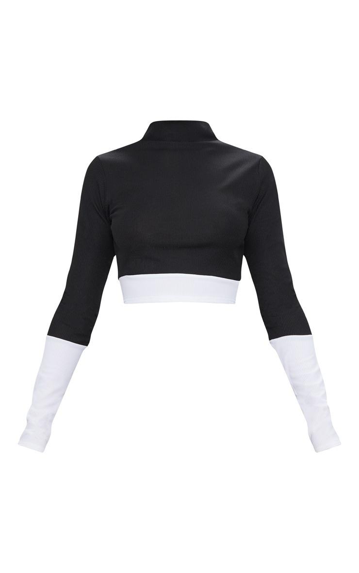 Black Rib Contrast Long Sleeve Crop Top  3