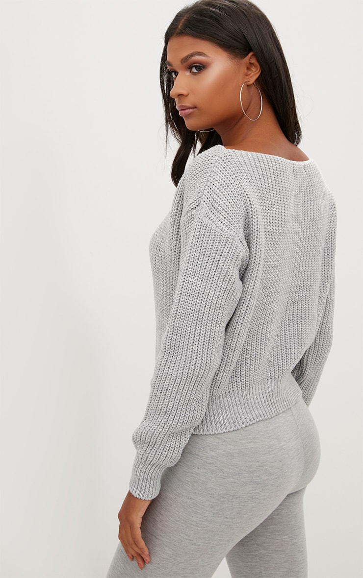 Christiana Grey Mixed Knit Slash Neck Crop Sweater 2
