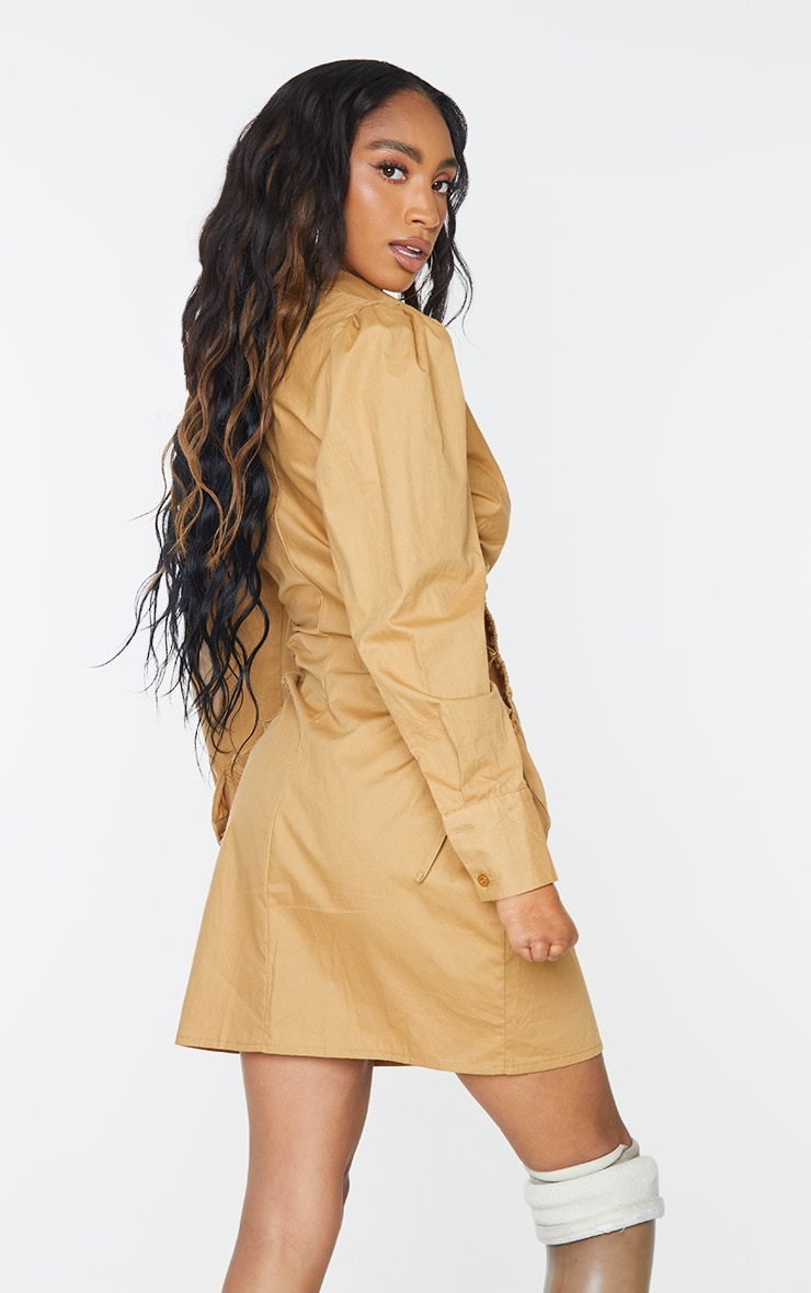 Camel Ruched Side Lace Up Detail Shirt Dress 2