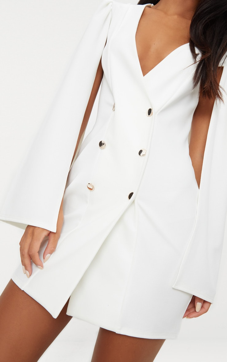 White Cape Button Detail Blazer Dress 4