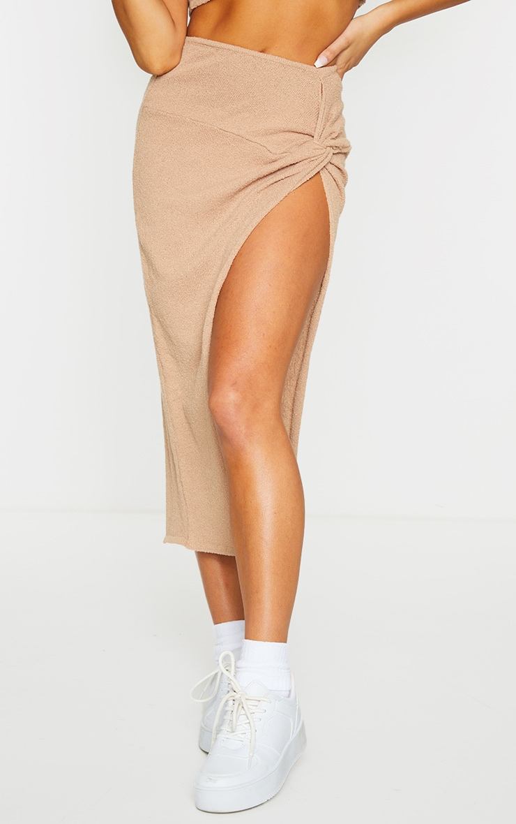Stone Ruched Waist Side Split Towelling Knit Skirt 2
