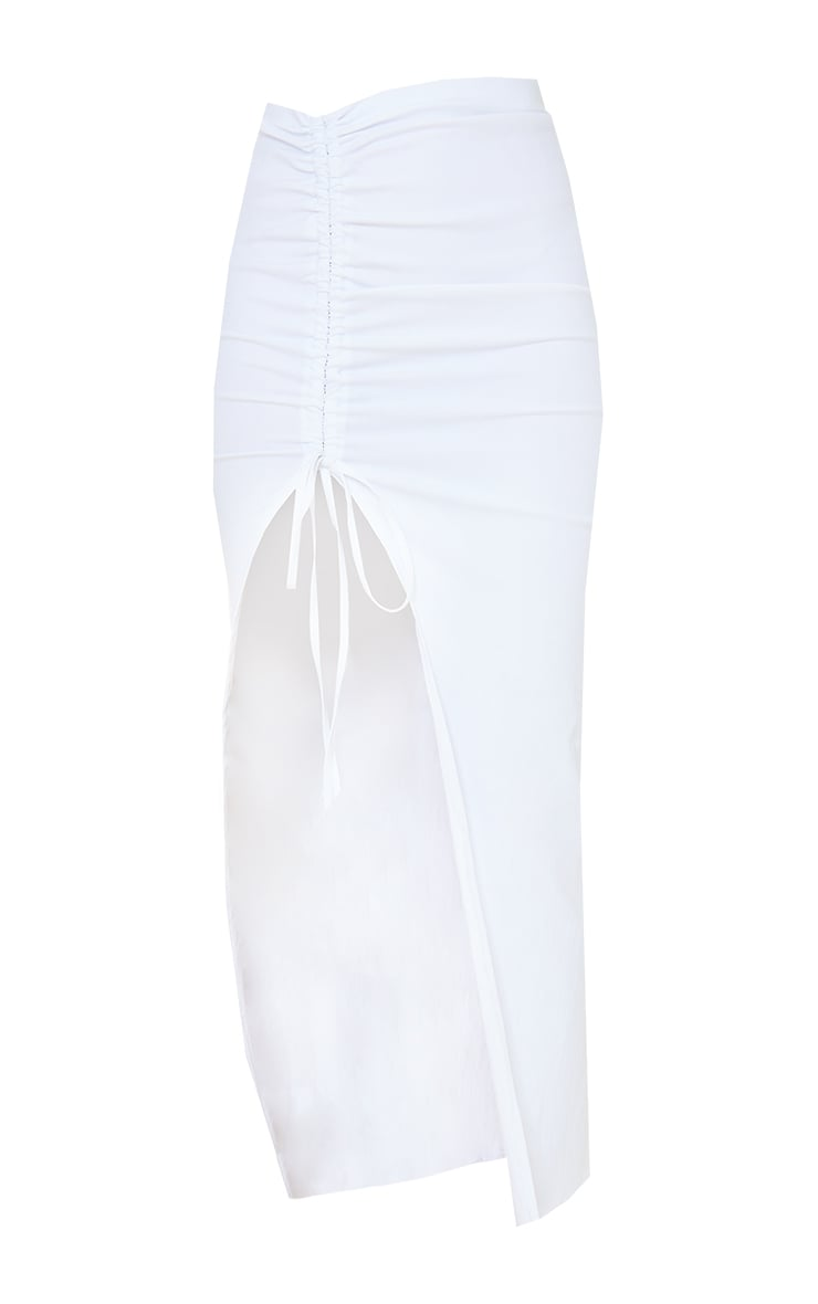 White Stretch Woven Ruched Split Leg Tie Front Midaxi Skirt 5