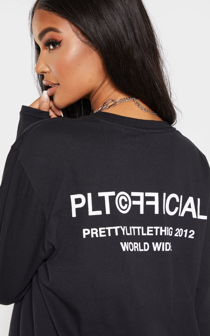PRETTYLITTLETHING Black Official Slogan Long Sleeve T Shirt 5