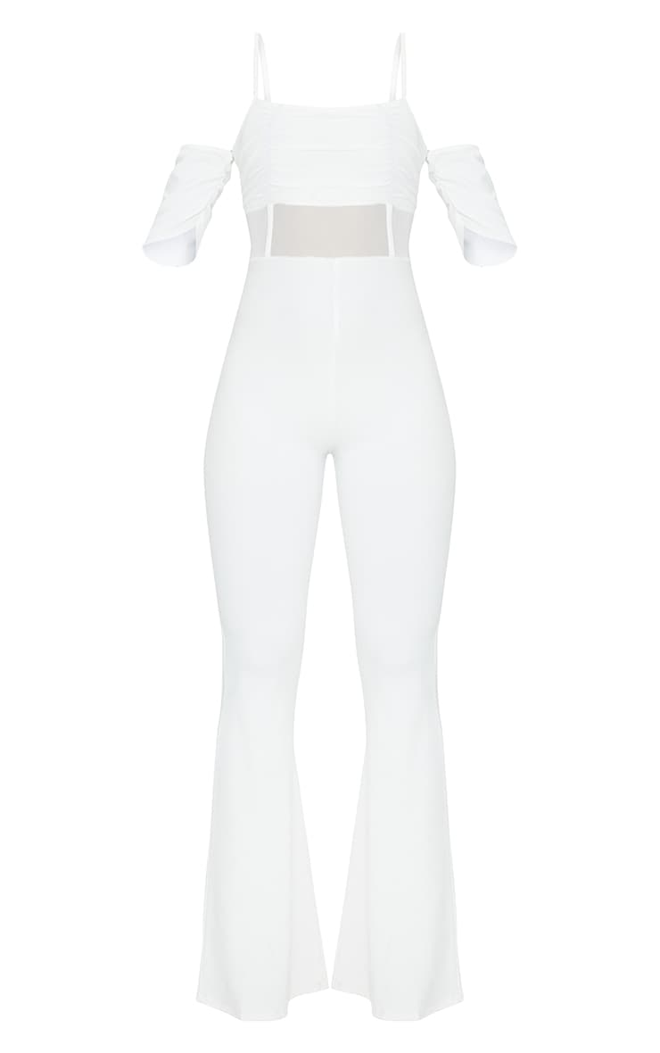 White Ruched Mesh Binding Detail Off The Shoulder Jumpsuit 5