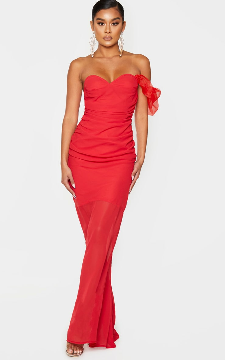 Red Chiffon Ruched Detail One Sleeve Maxi Dress 1