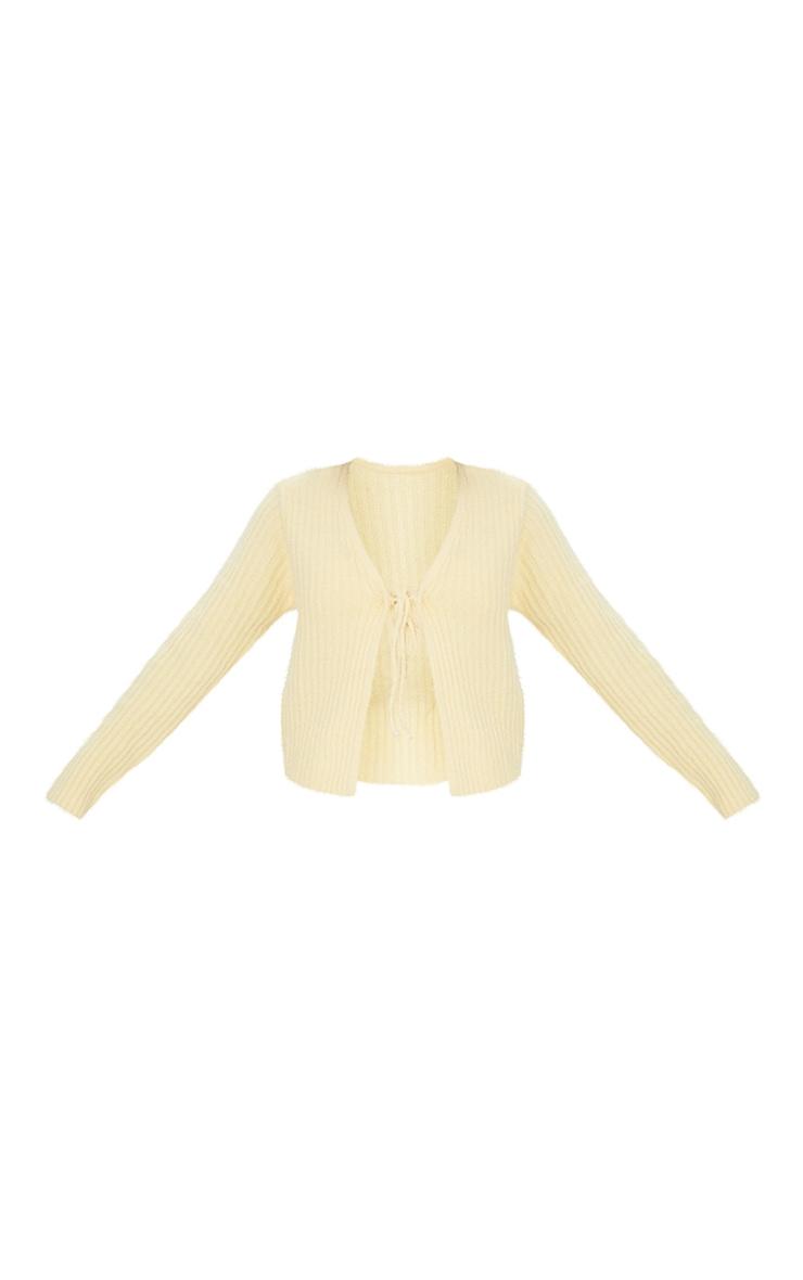 Yellow Premium Eyelash Tie Front Knitted Cardigan 5