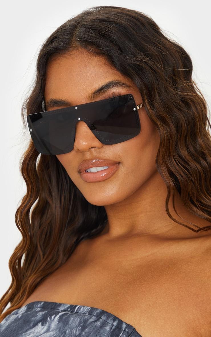 Gold Trim Black Revo Flat Sunglasses 1
