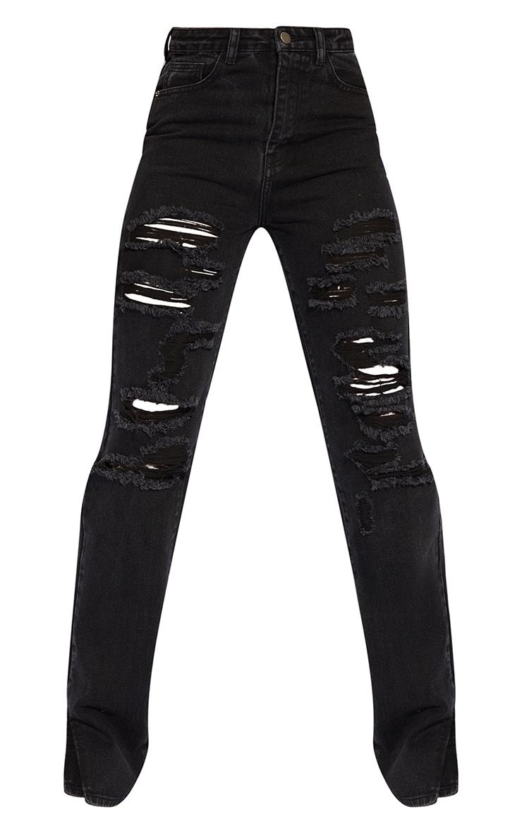 Tall Black Full Distressed Split Hem Denim Jean 5