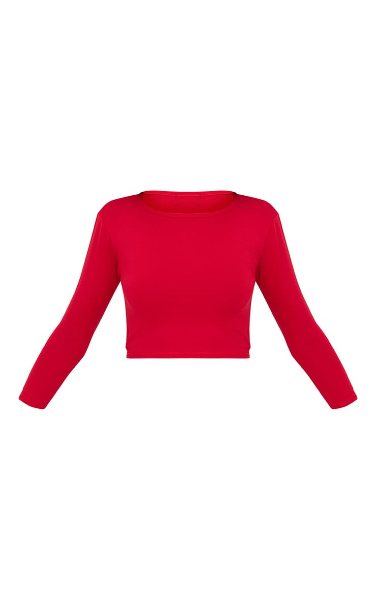 Basic Red Split Back 3/4 Sleeve Crop Top  3
