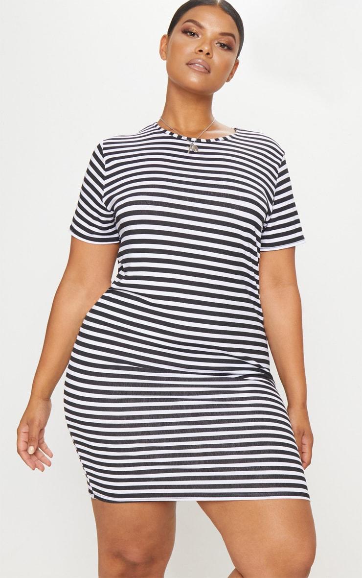 Plus Black Striped T Shirt Dress | Plus Size | PrettyLittleThing USA