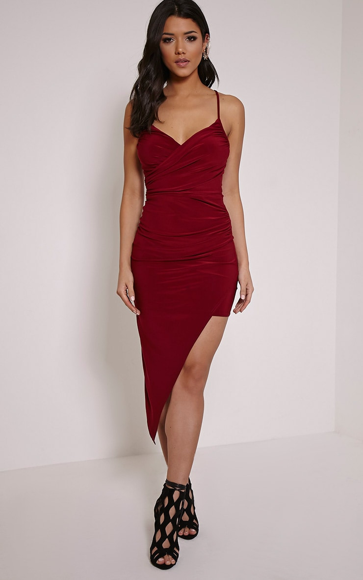 Zaire Burgundy Cross Back Asymmetric Ruched Dress 1