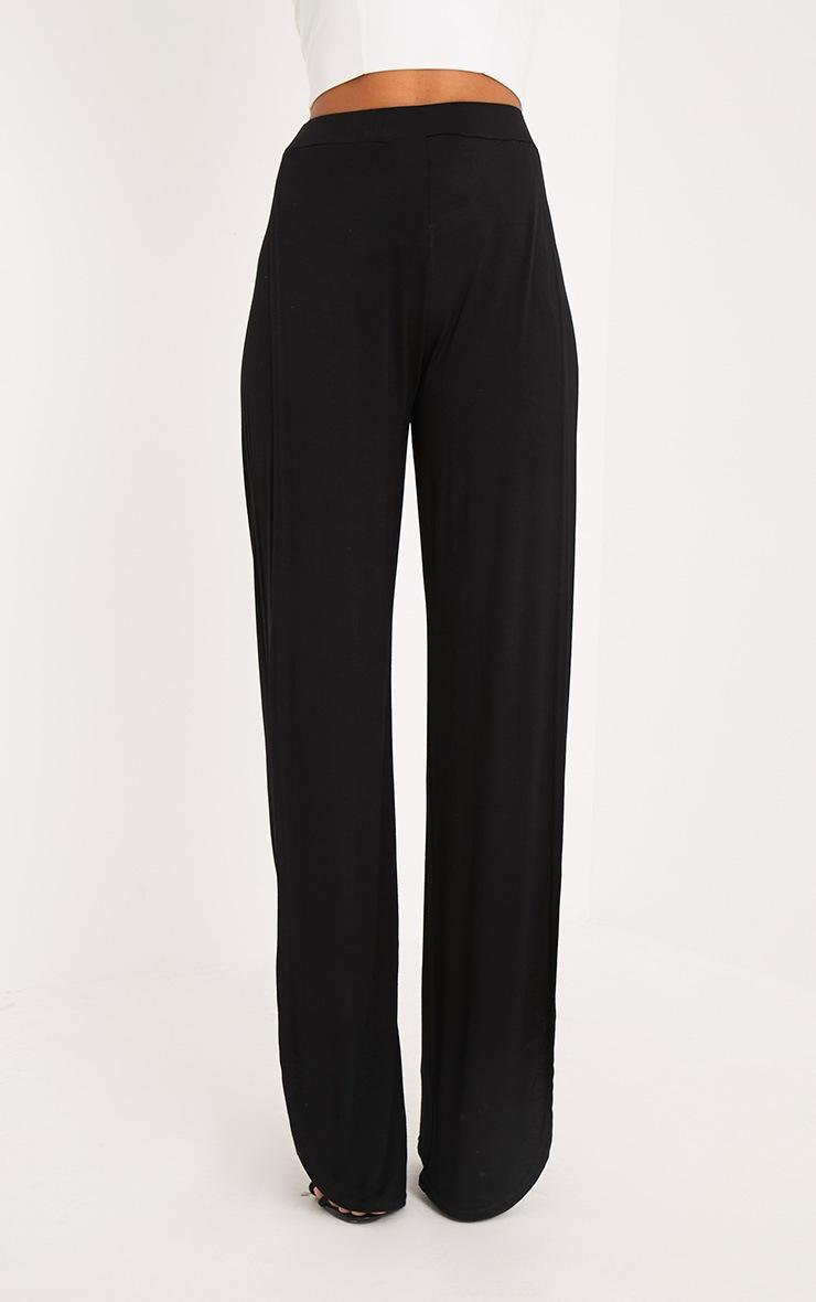 Mona Black Split Jersey Trousers 2