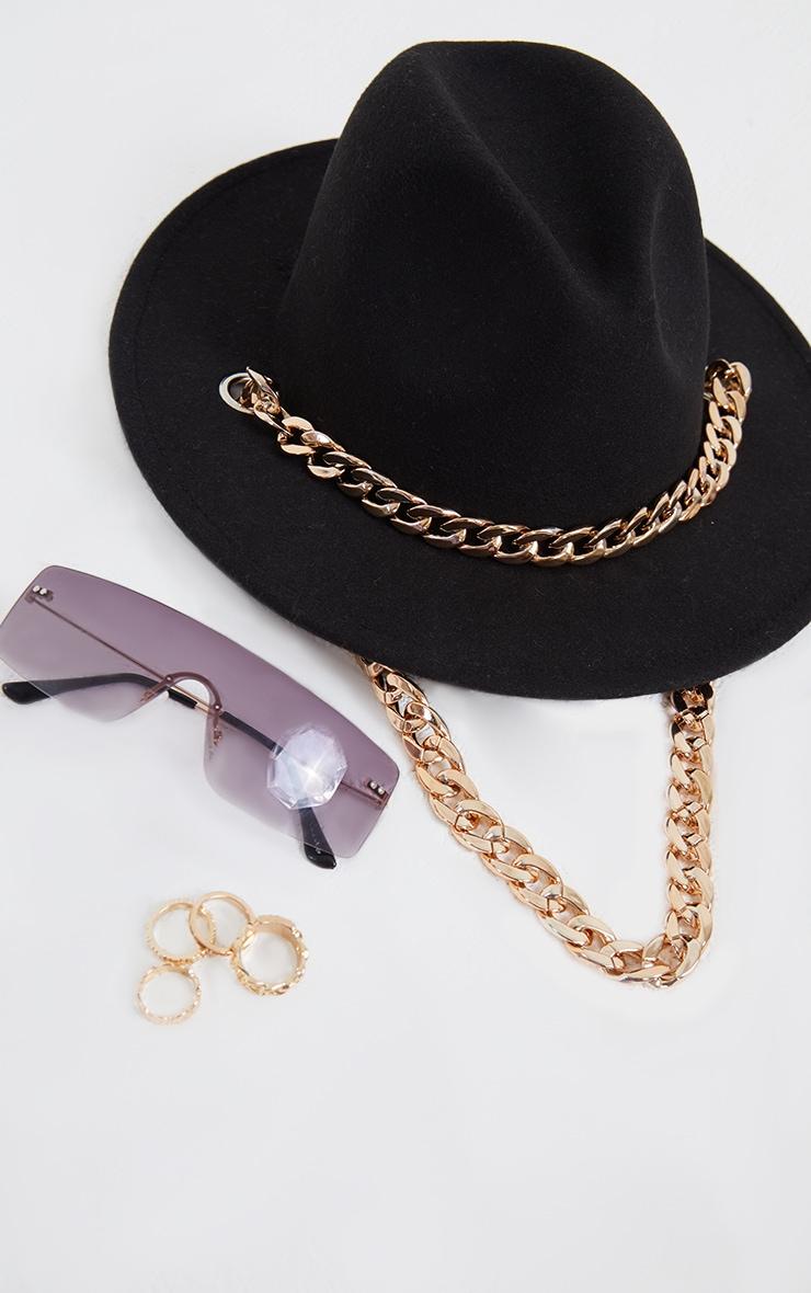 Black Gold Chain Fedora Hat 3