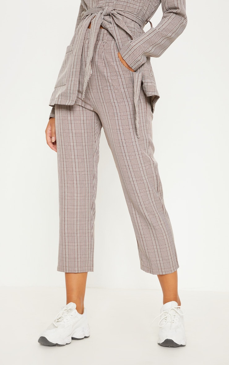 Brown Check Straight Leg Trouser 2