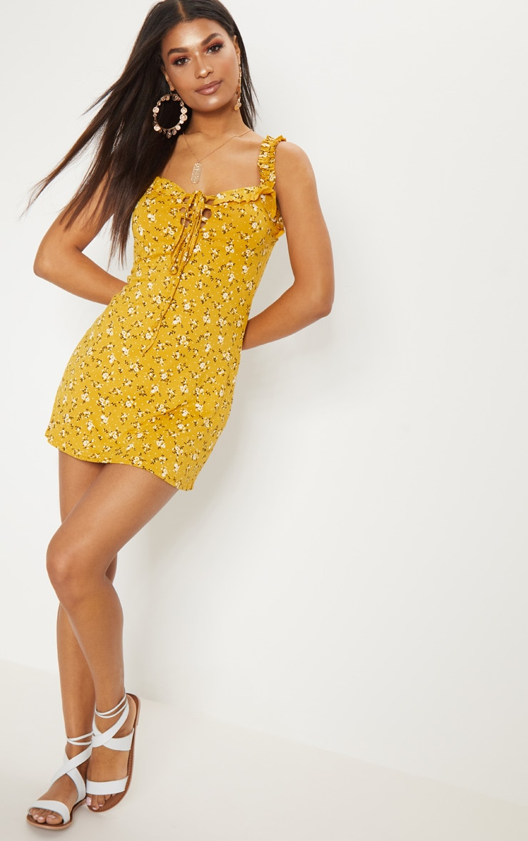Recycled Mustard Floral Frill Detail Shift Dress 3