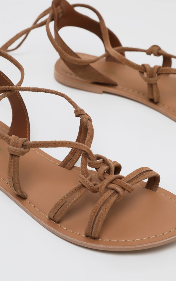 Tan Knot Strappy Leather Sandal 3