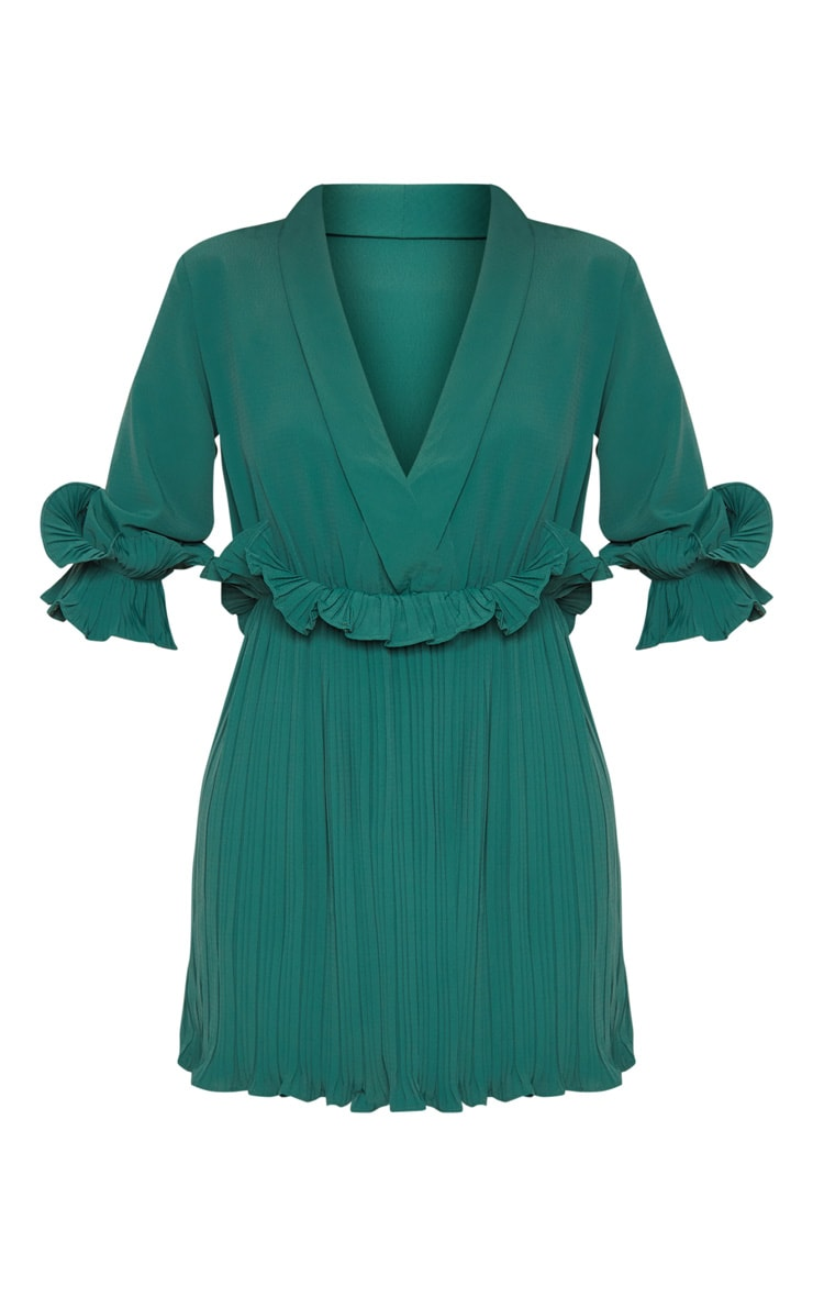 Emerald Green Frill Detail Pleated Skater Dress 3