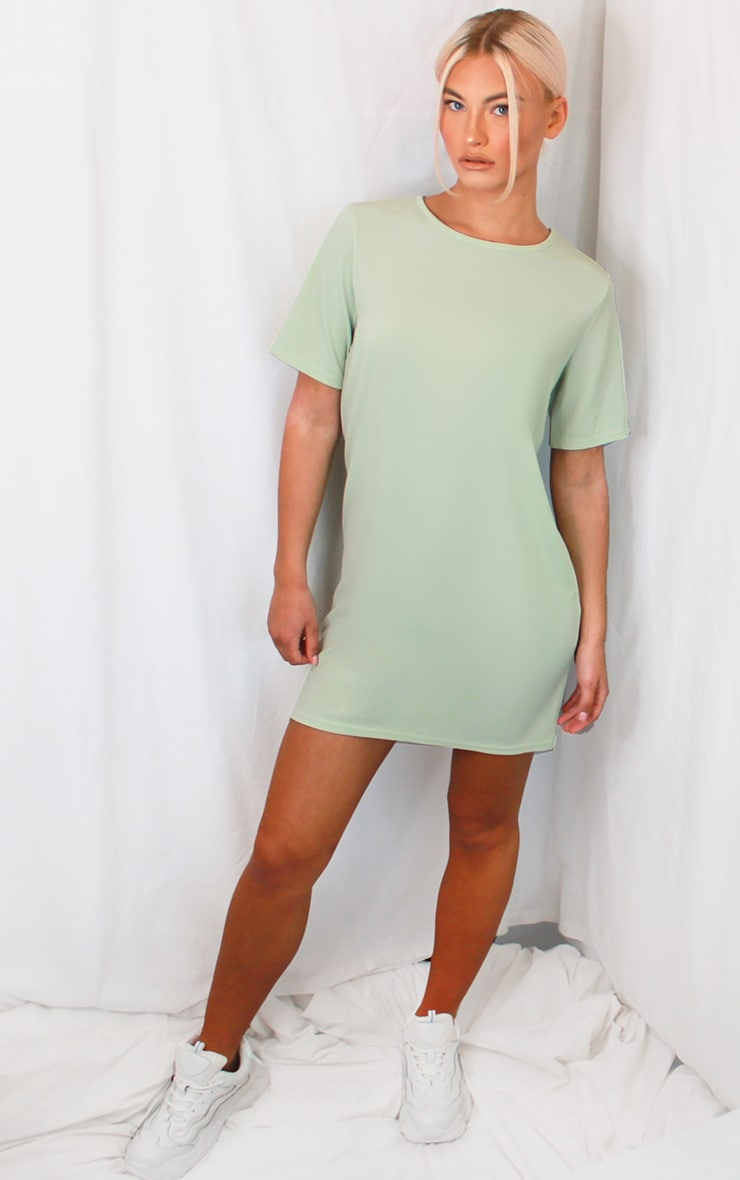 Sage Green Rib Short Sleeve T Shirt Dress 3