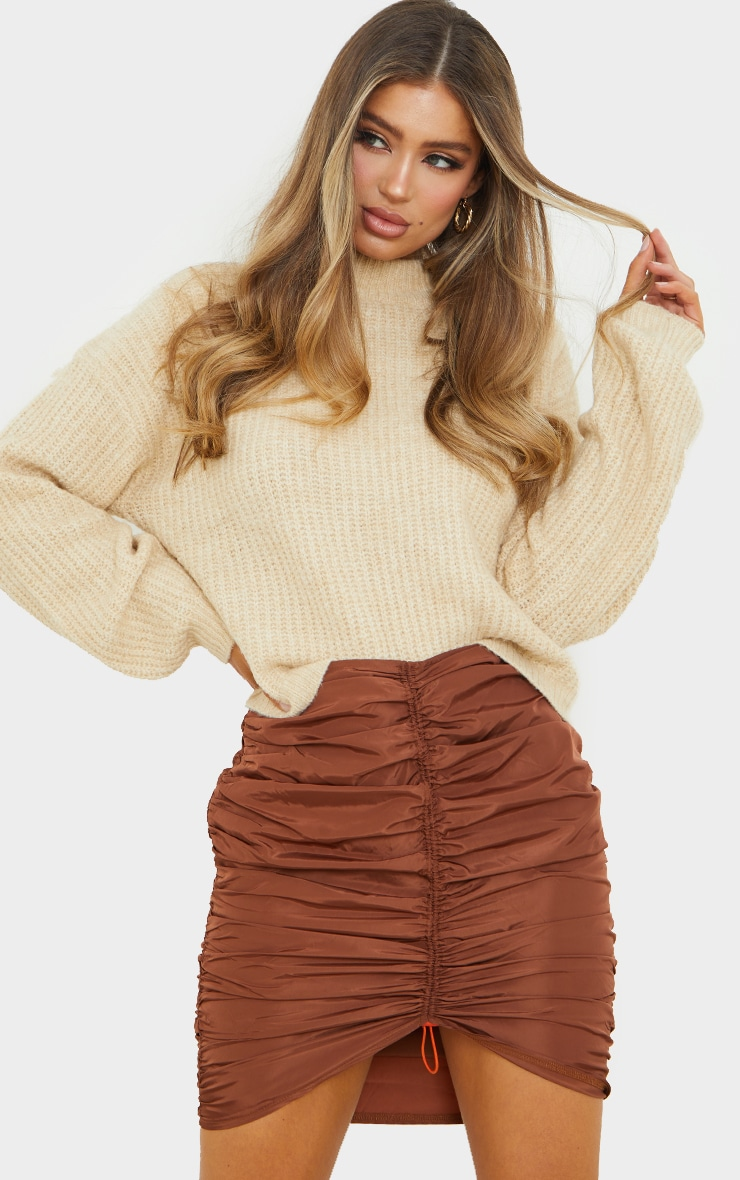 Chocolate Shell Toggle Ruched Front Mini Skirt 1