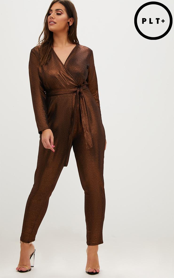Plus Bronze Lurex Wrap Jumpsuit 1