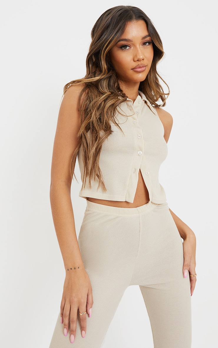 Oatmeal Ribbed Collar Detail Sleeveless Button Front Top 1
