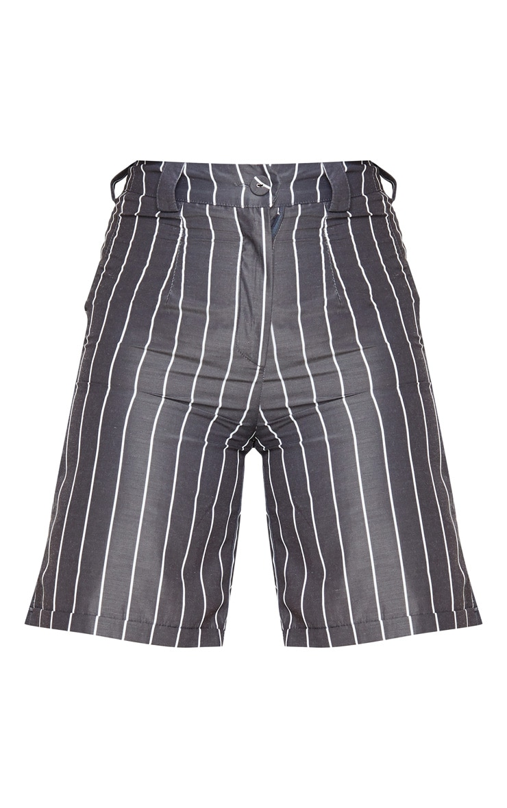 Black Pinstripe Longline Turn Up Hem Tailored Short 3