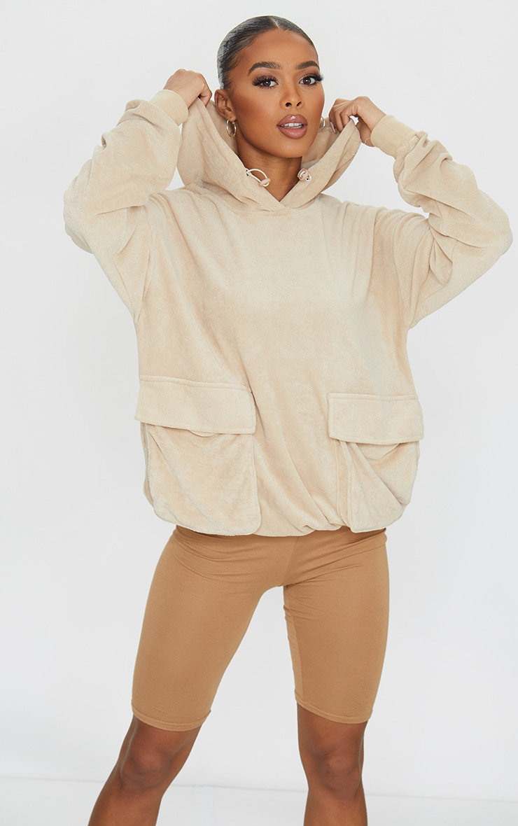 Camel Towelling Oversized Pocket Sweatshirt 1