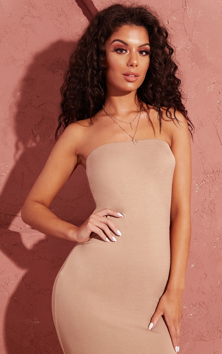 Basic Camel Bandeau Midaxi Dress 5
