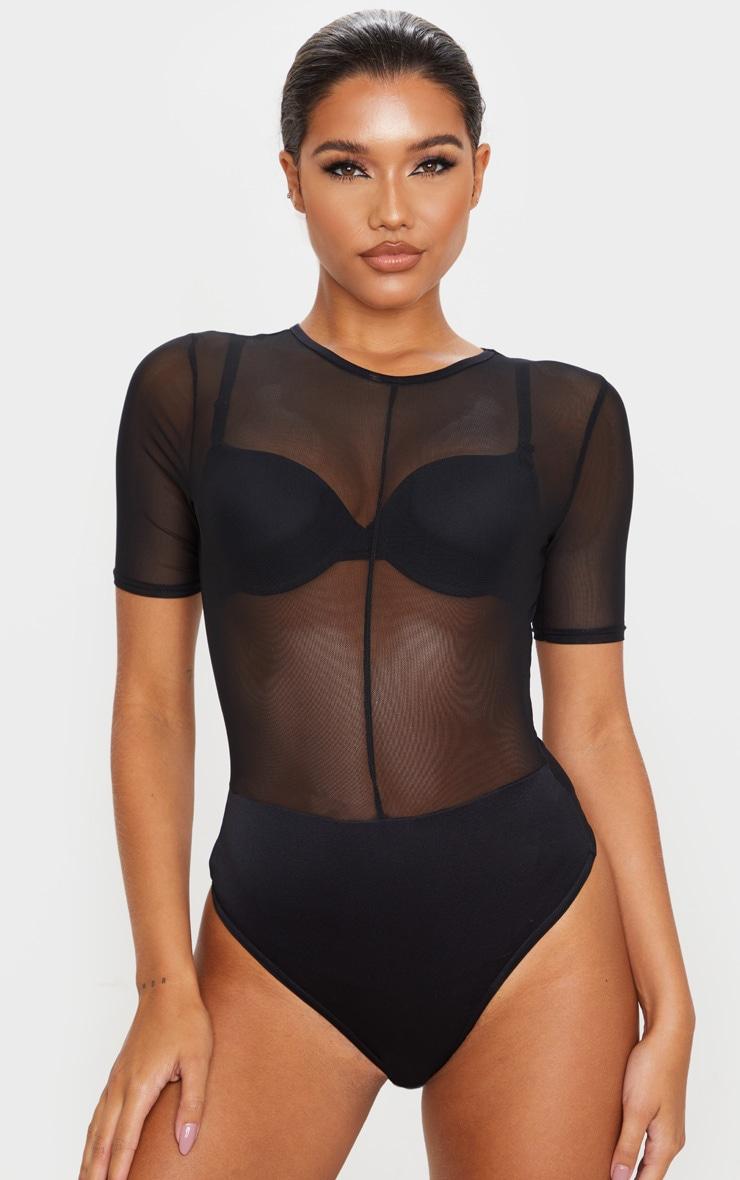 Black Sheer Mesh Short Sleeve Bodysuit 2