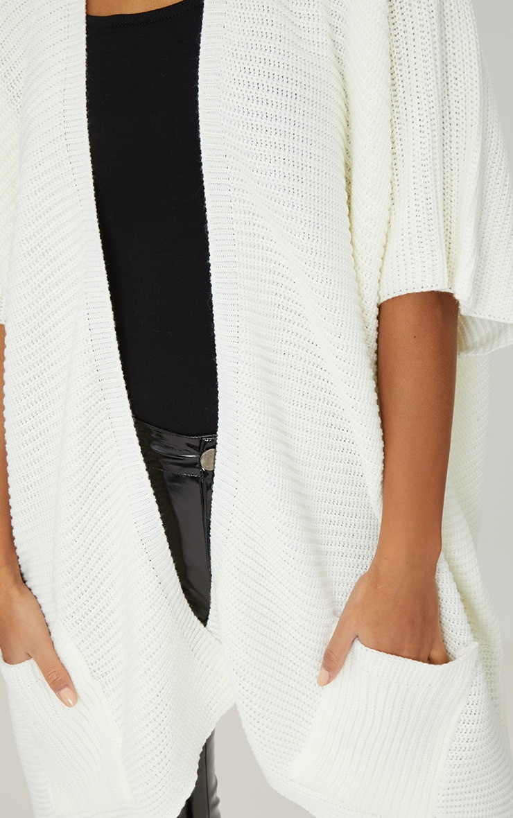 Cream Chunky Knit 3/4 Sleeve Wrap Cardigan 5