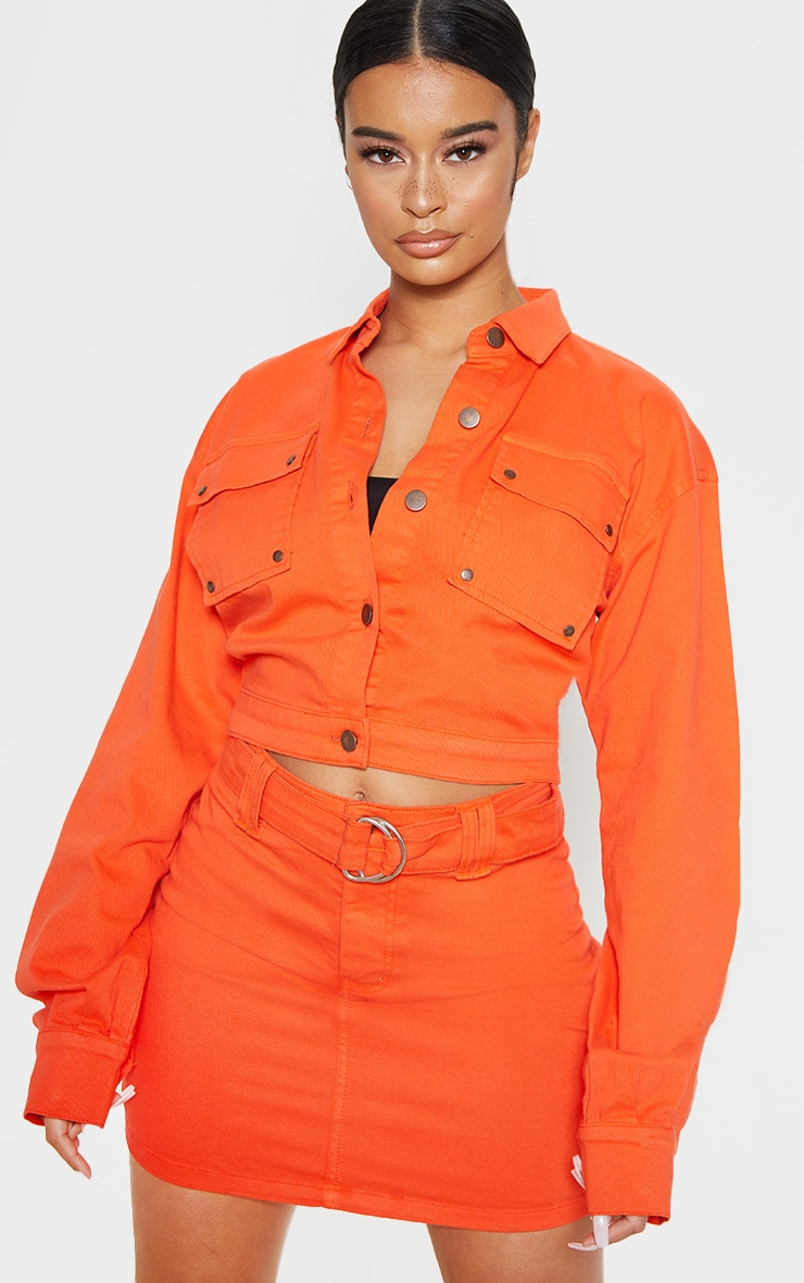 Neon Orange Oversized Cropped Denim Trucker 1