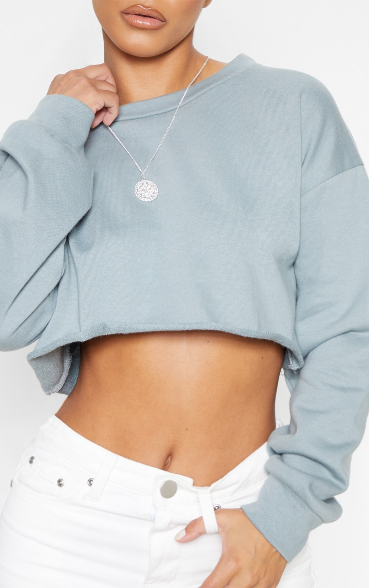 Petite Lead Grey Cropped Sweater 5