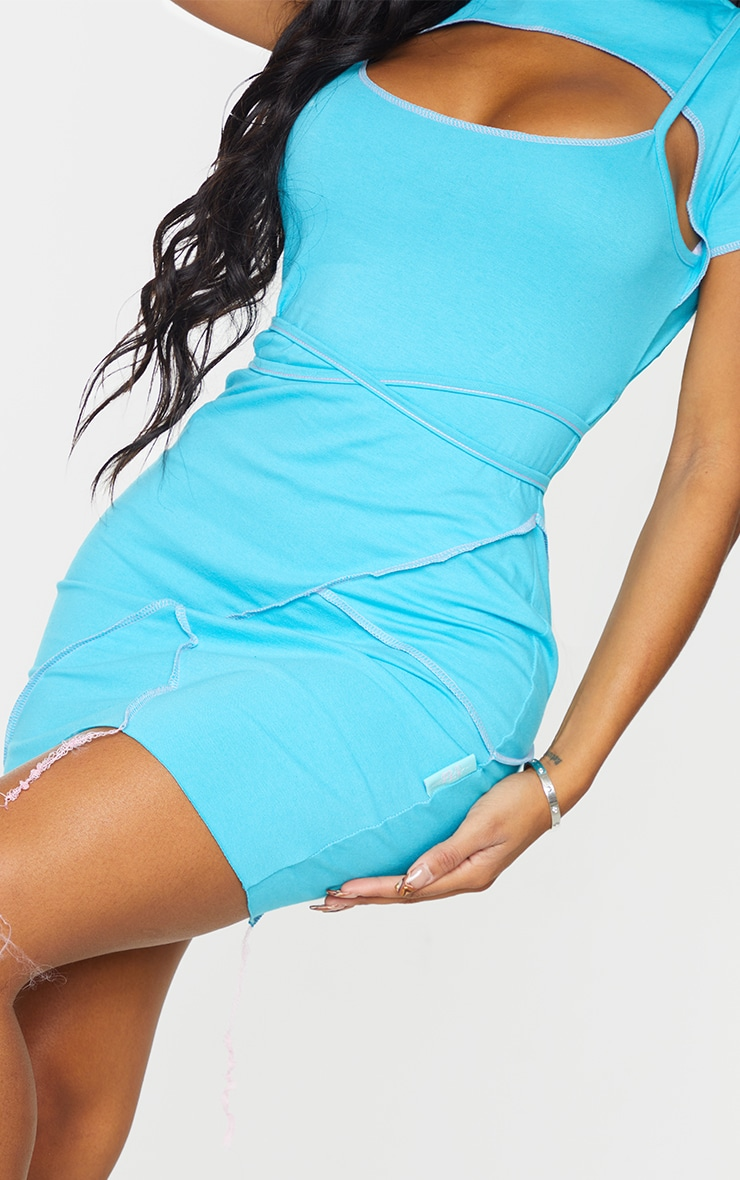 PRETTYLITTLETHING Shape Aqua Overlock Label Strappy Bodycon Dress 4