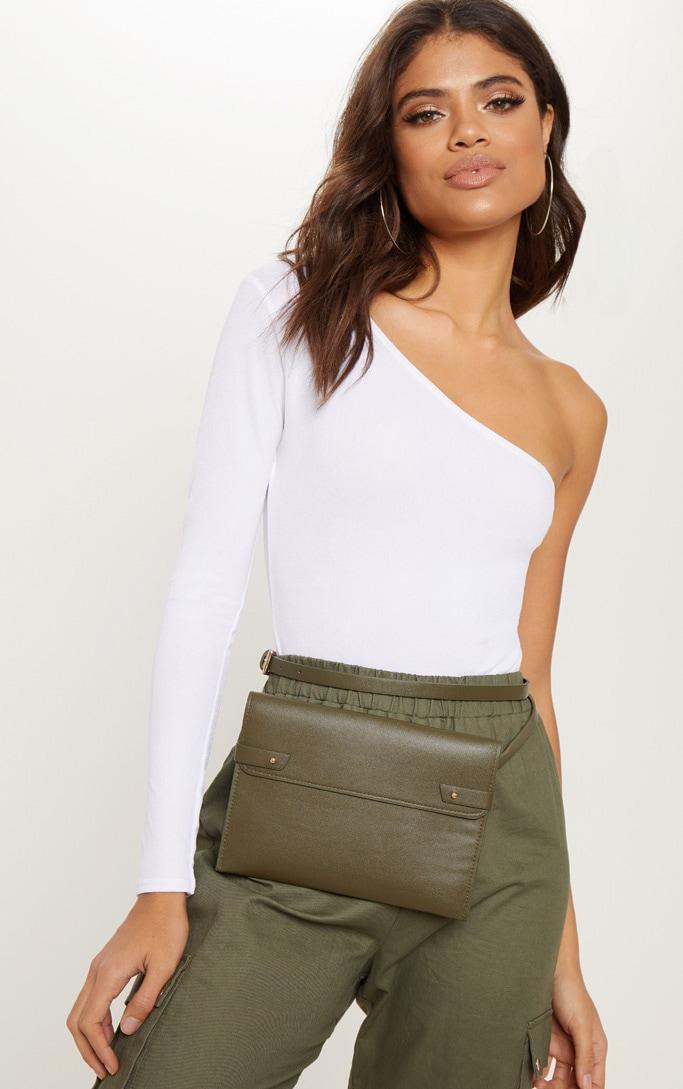 Khaki Flat Rectangle Bum Bag