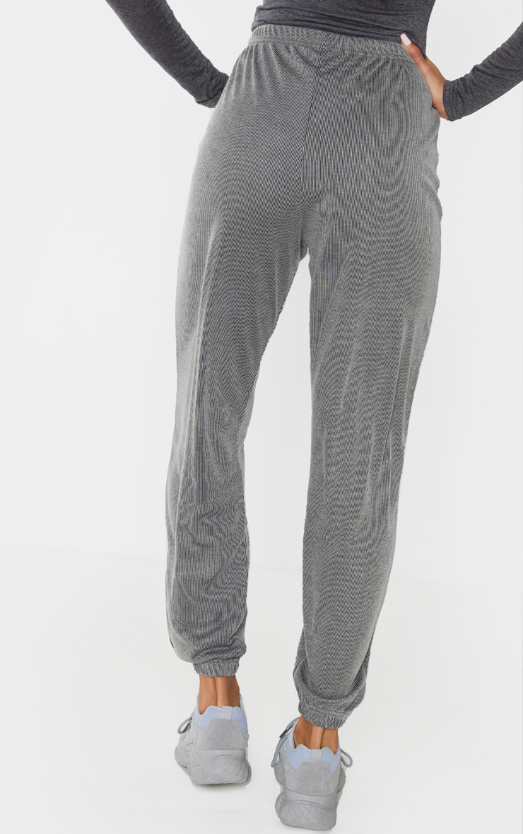 Grey Contrast Ribbed Casual Joggers 4