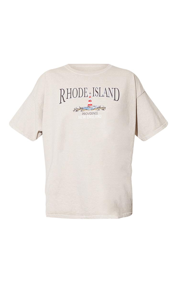 Sand Rhode Island Washed Printed T Shirt 5