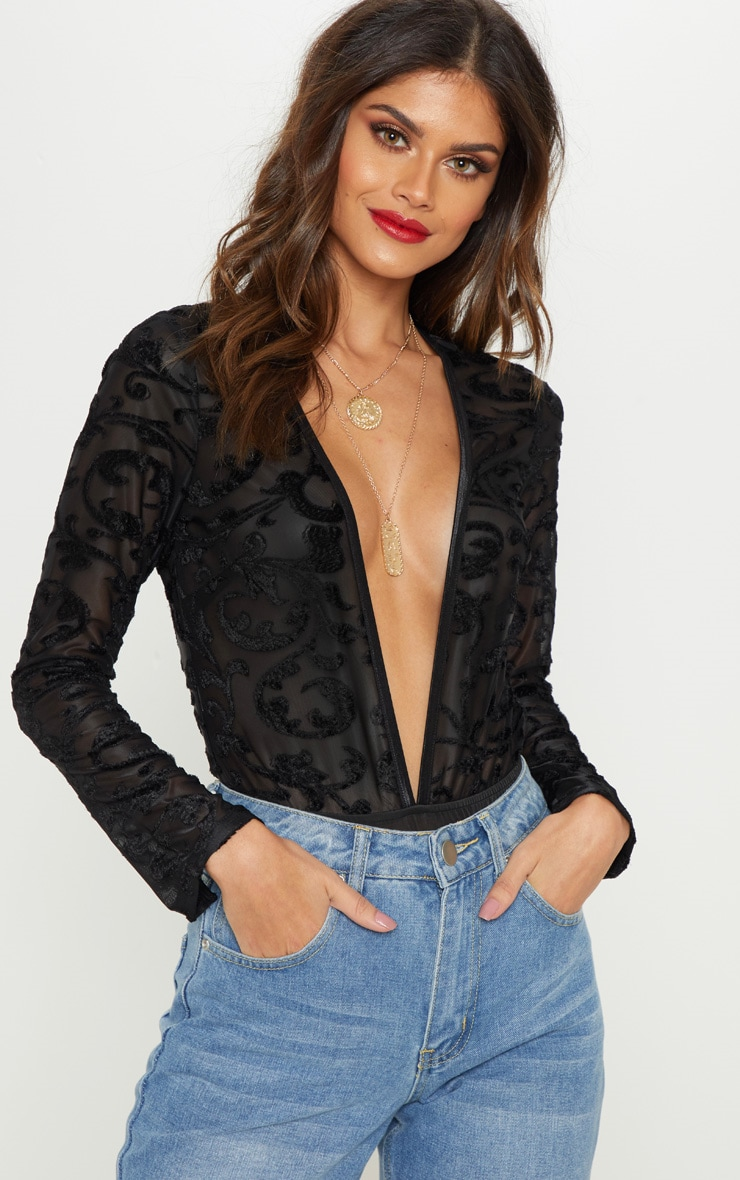 Black Devore Plunge Long Sleeve Bodysuit 1
